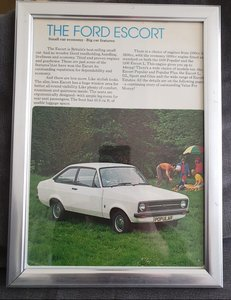1976 Ford Escort MK2 Framed Advert Original