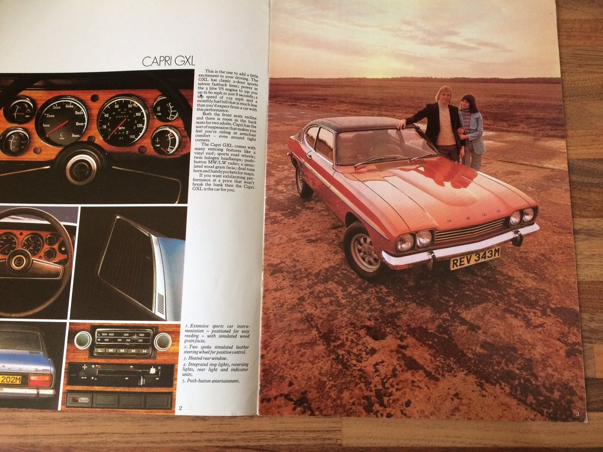 Ford Capri Mk1 sales brochure. For Sale (picture 2 of 6)