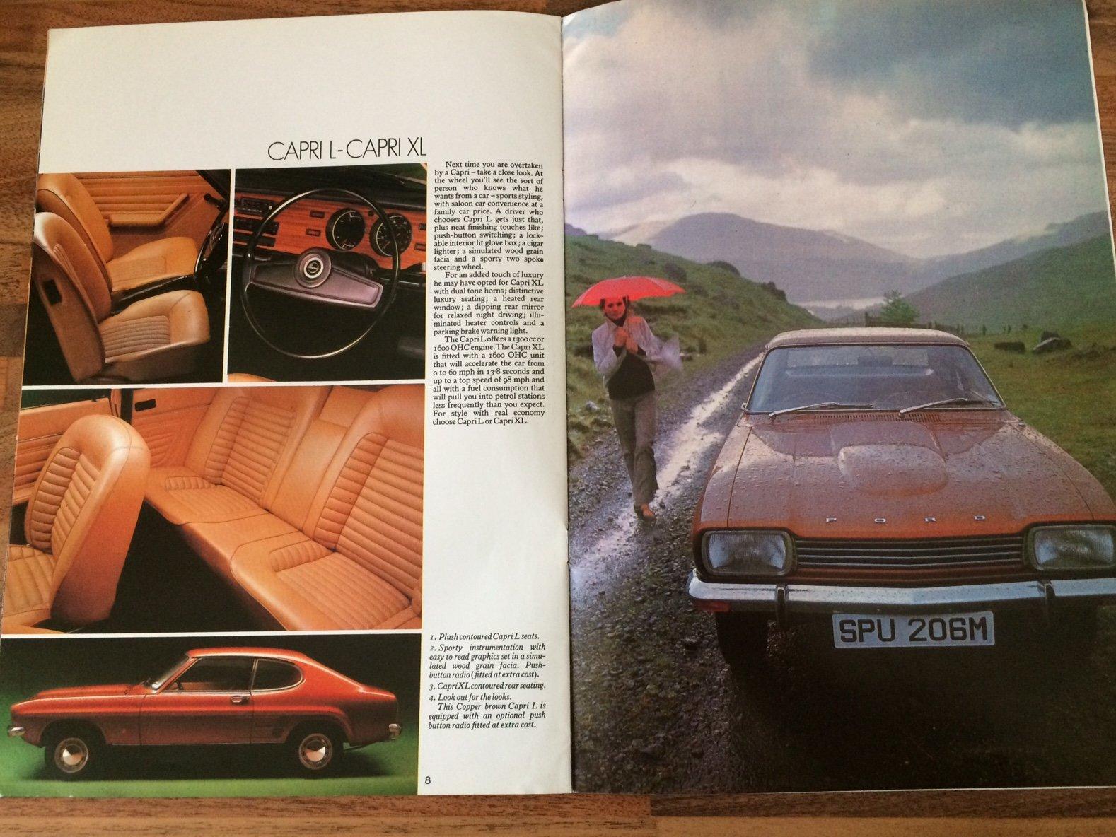 Ford Capri Mk1 sales brochure. For Sale (picture 4 of 6)