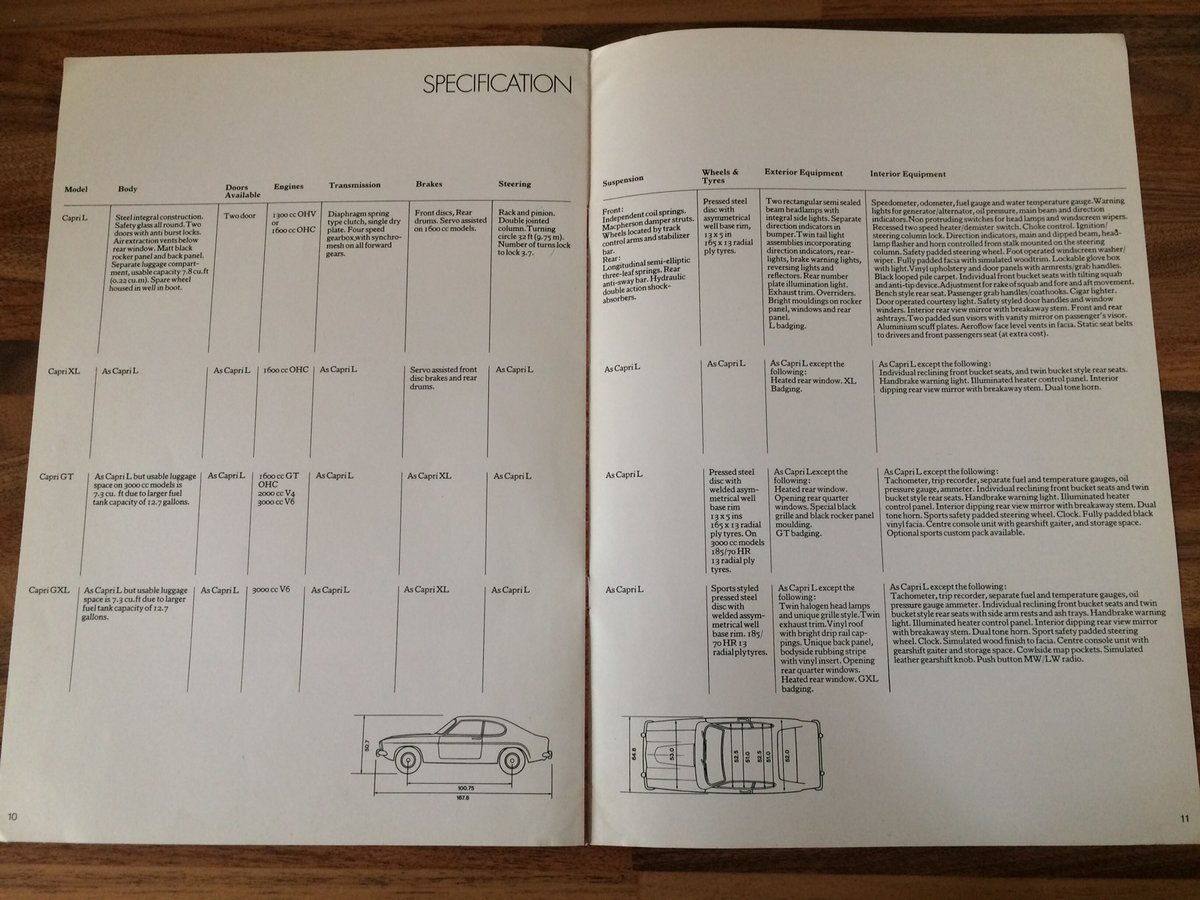 Ford Capri Mk1 sales brochure. For Sale (picture 5 of 6)