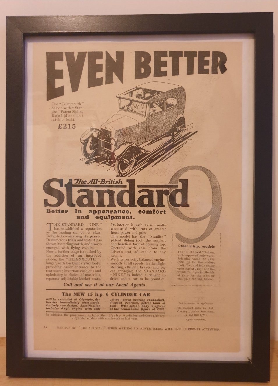 1965 Original 1928 Standard Nine Framed Advert  For Sale (picture 1 of 3)
