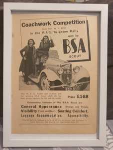 Picture of 1966 Original 1939 BSA Scout Framed Advert