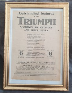 Picture of 1959 Original 1930 Triumph Framed Advert