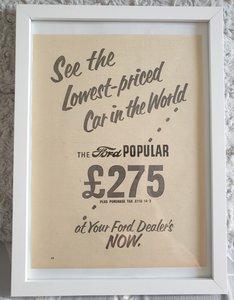 Original 1953 Ford Popular Framed Advert