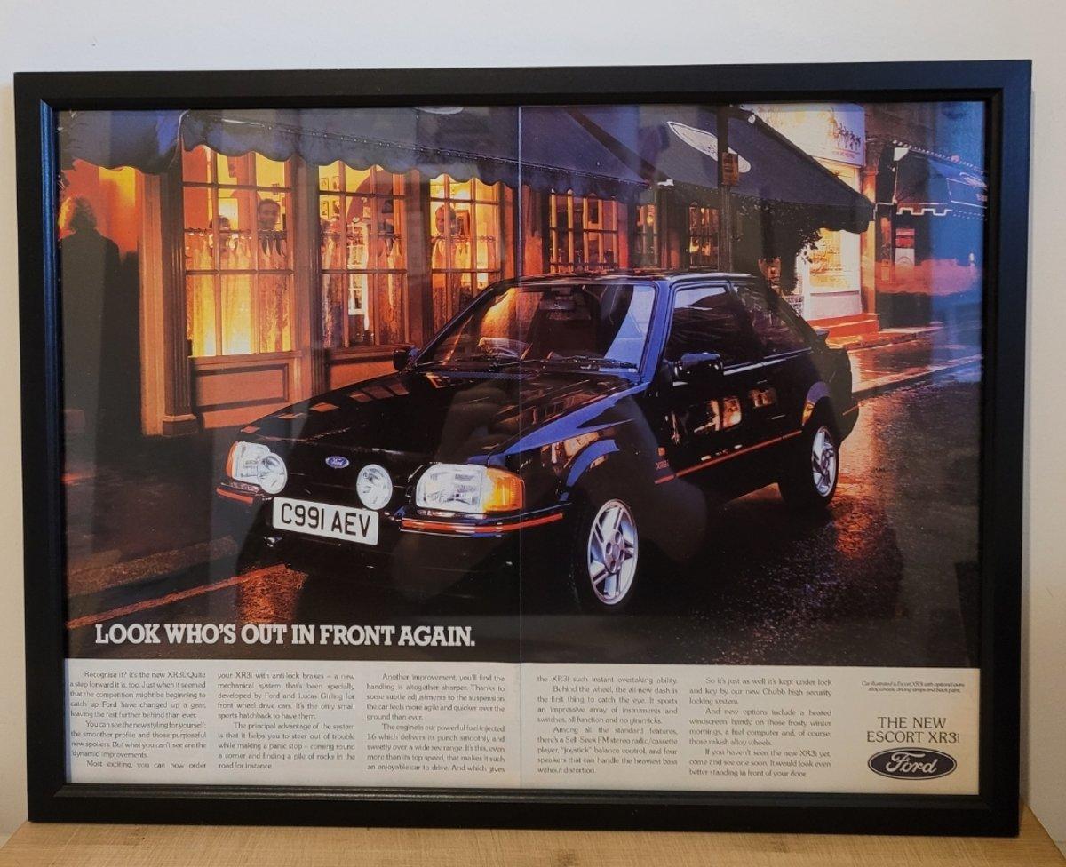 1972 Original 1986 Ford Escort XR3i Framed Advert For Sale (picture 1 of 3)