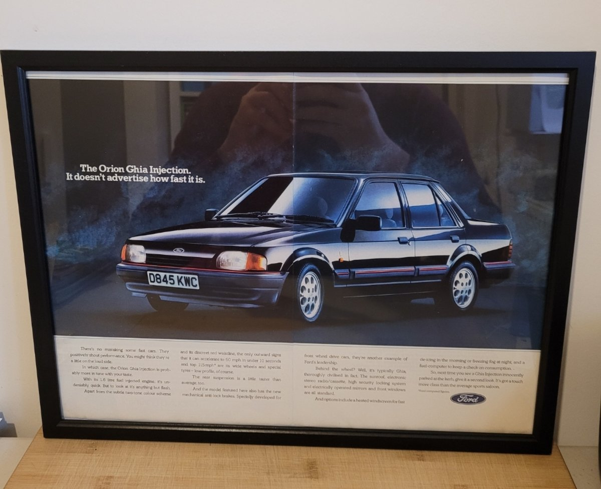 1985 Original 1987 Ford Orion Ghia Framed Advert For Sale (picture 1 of 3)