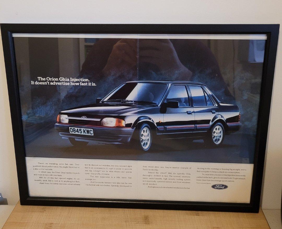 Original 1987 Ford Orion Ghia Framed Advert
