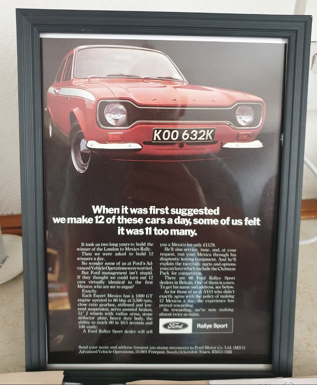Original 1971 Ford Escort Mexico Framed Advert