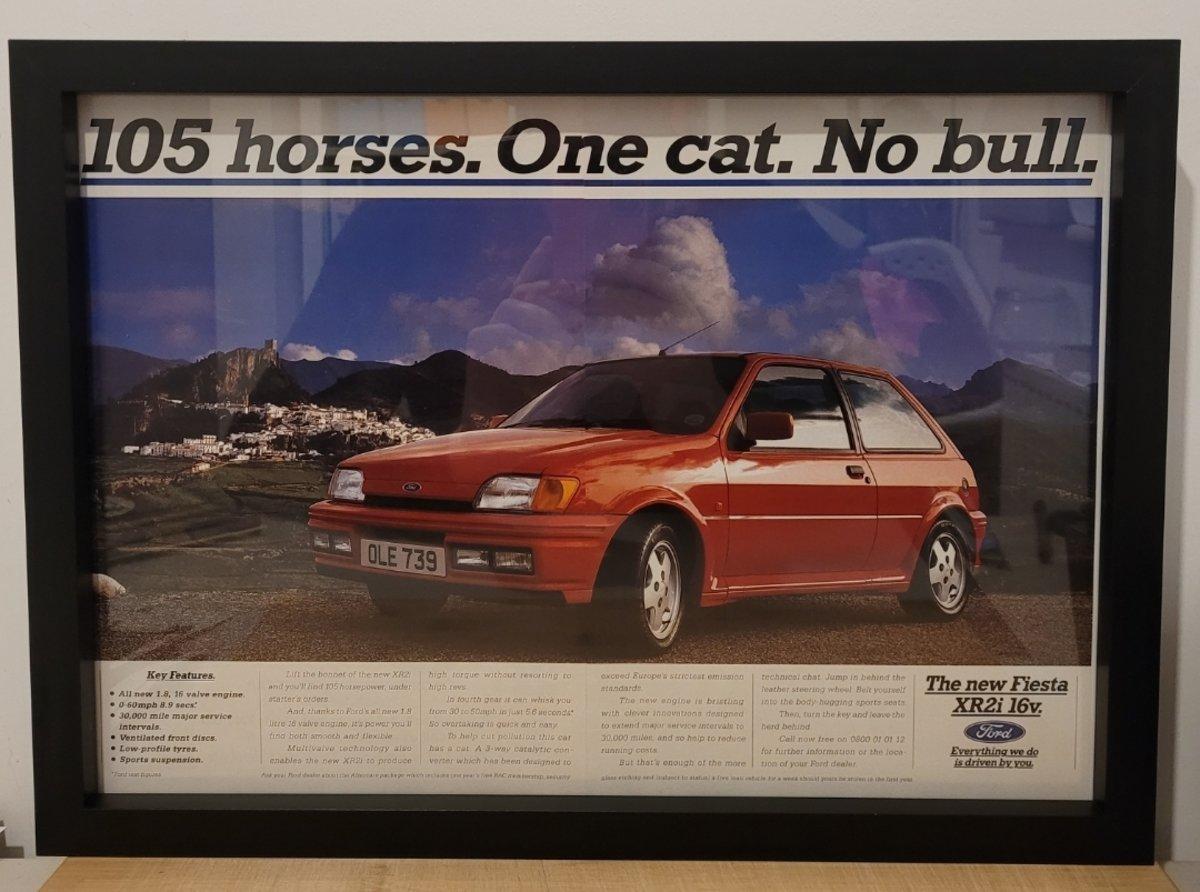 1991 Original 1992 Ford Fiesta XR2i Framed Advert For Sale (picture 1 of 3)