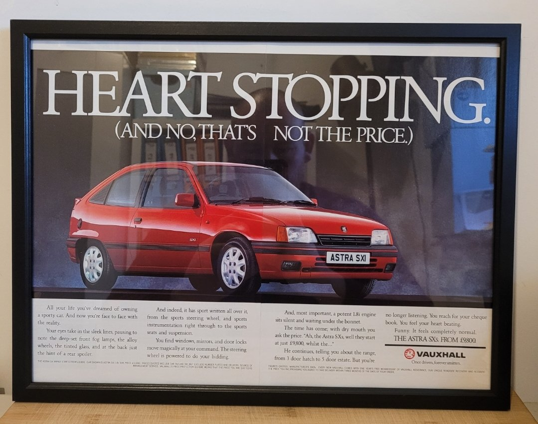 Picture of 1967 Original 1990 Vauxhall Astra SXi Framed Advert For Sale