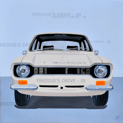 1971 Escort Mk1 _Mexico - Original Painting On Stretched Canvas For Sale (picture 1 of 4)