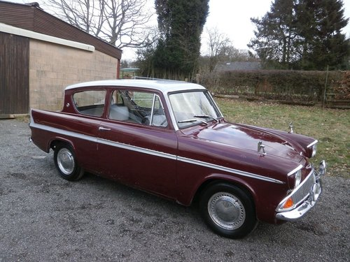 1964 FORD ANGLIA 123E SUPER MAROON/GREY JUST 25K UNRESTORED! SOLD (picture 1 of 6)