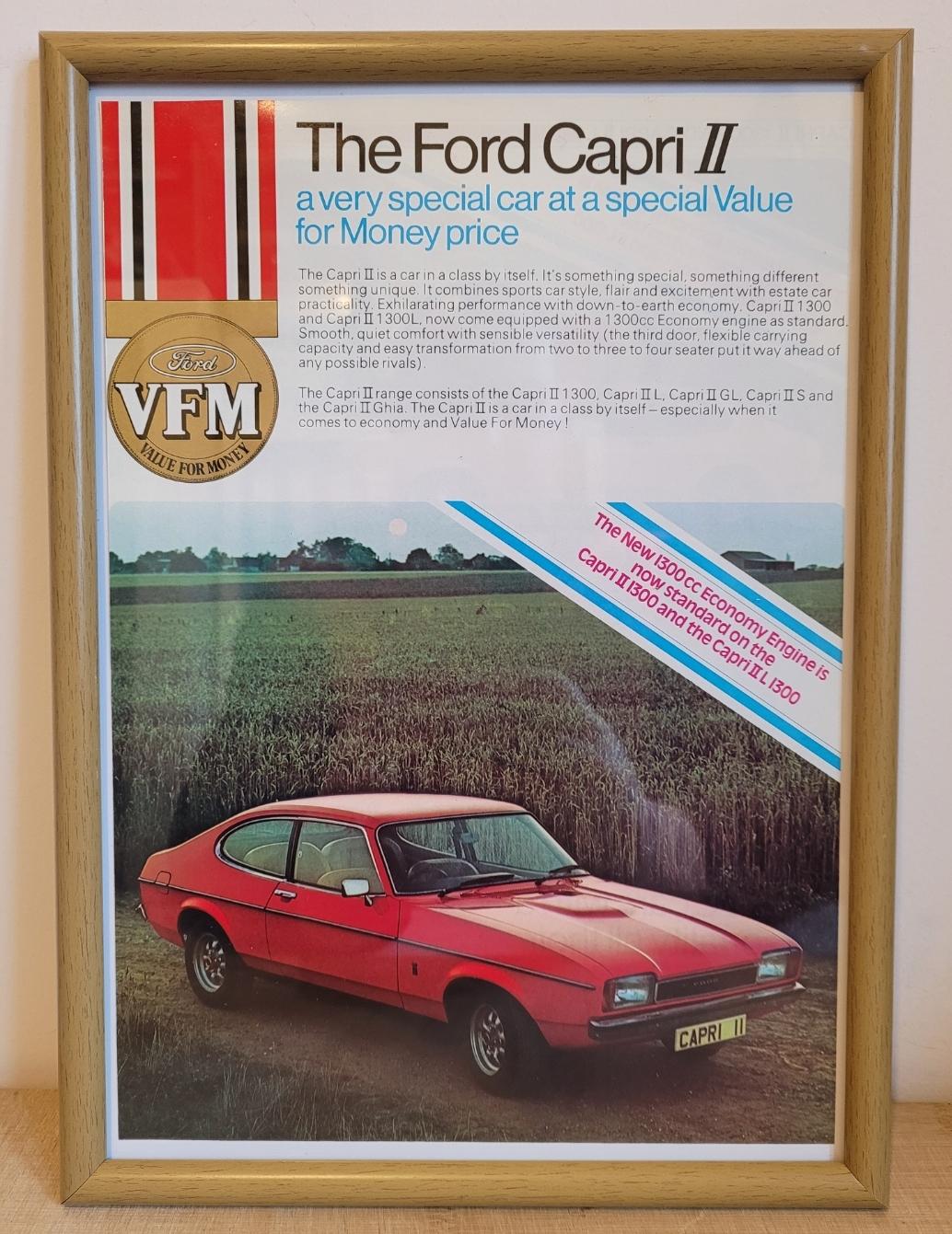 Original 1976 Ford Capri MK2 Framed Advert