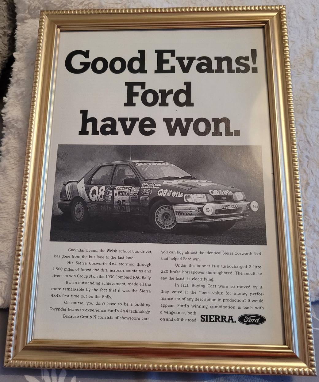 Original 1991 Ford Sierra Cosworth Framed Advert