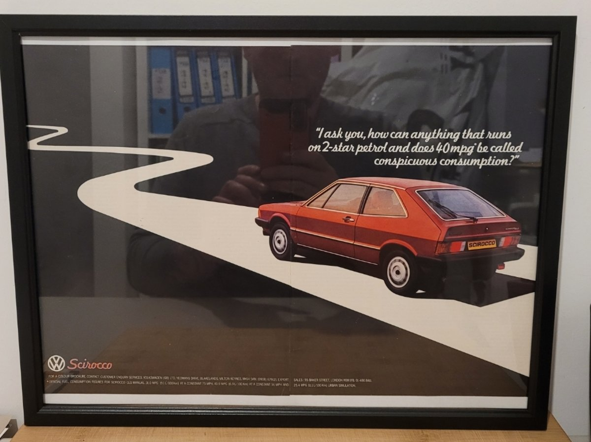 1968 Original 1980 VW Scirocco Framed Advert For Sale (picture 1 of 3)