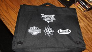 0000 HARLEY DAVIDSON BRIEFCASE, BAG AND HANDLE BAR MIRRORS 4 SALE For Sale