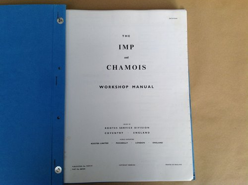 Hillman Imp & Chamois Rootes Workshop Manual For Sale (picture 2 of 4)