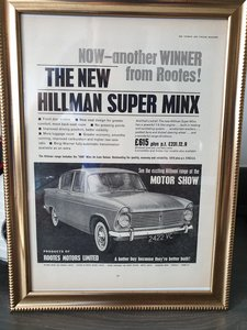 1963 Hillman Minx advert Original