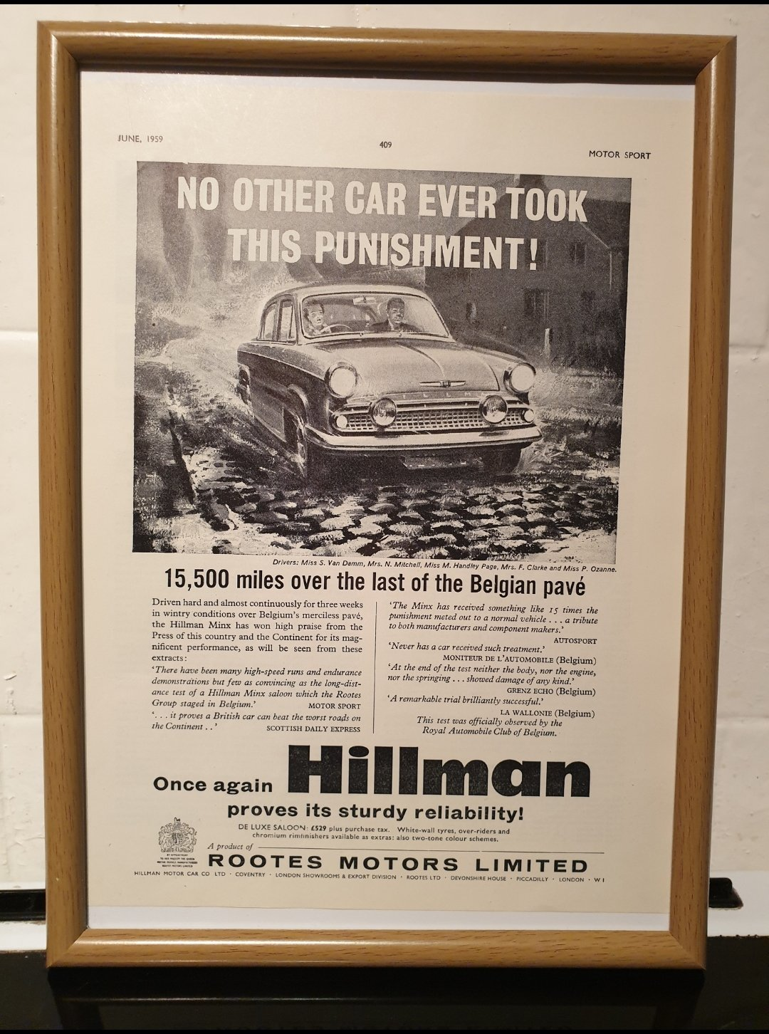 1959 Original Hillman Minx Framed Advert For Sale (picture 1 of 2)
