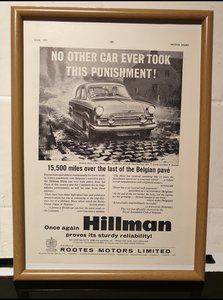 1959 Original Hillman Minx Framed Advert For Sale