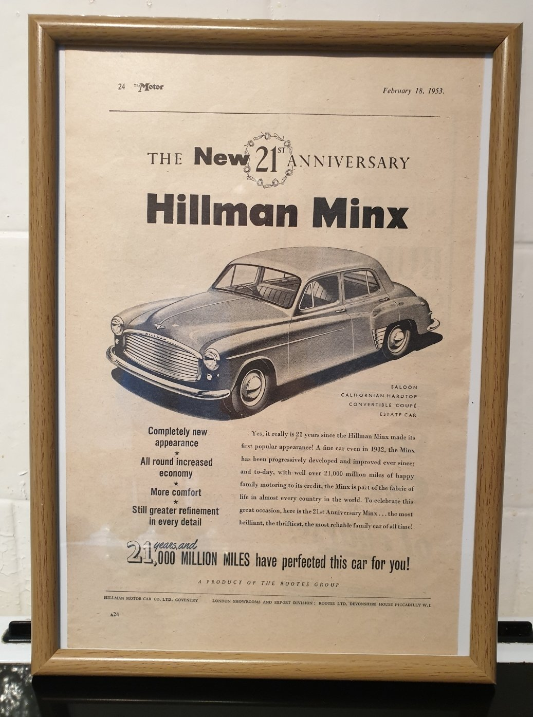 1953 Hillman Minx Framed Advert Original  For Sale (picture 1 of 2)