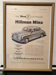 1953 Hillman Minx Framed Advert Original  For Sale
