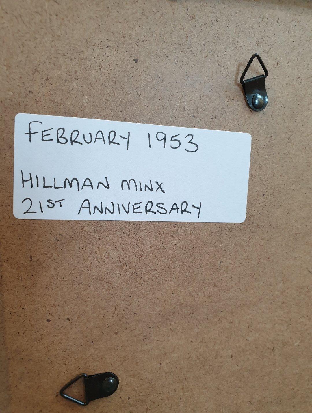 1953 Hillman Minx Framed Advert Original  For Sale (picture 2 of 2)