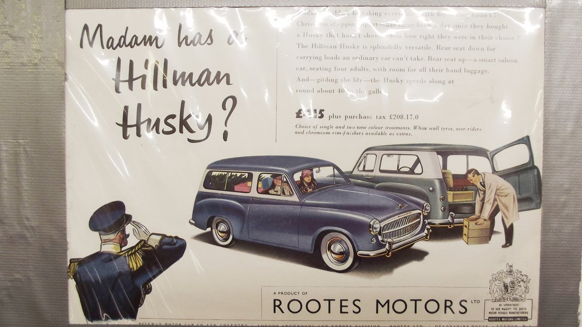 0000 HILLMAN MINX, IMP. HUSKY ORIGINAL ADVERTISEMENTS 4 SALE For Sale (picture 3 of 6)