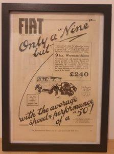 Original 1928 Fiat Framed Advert