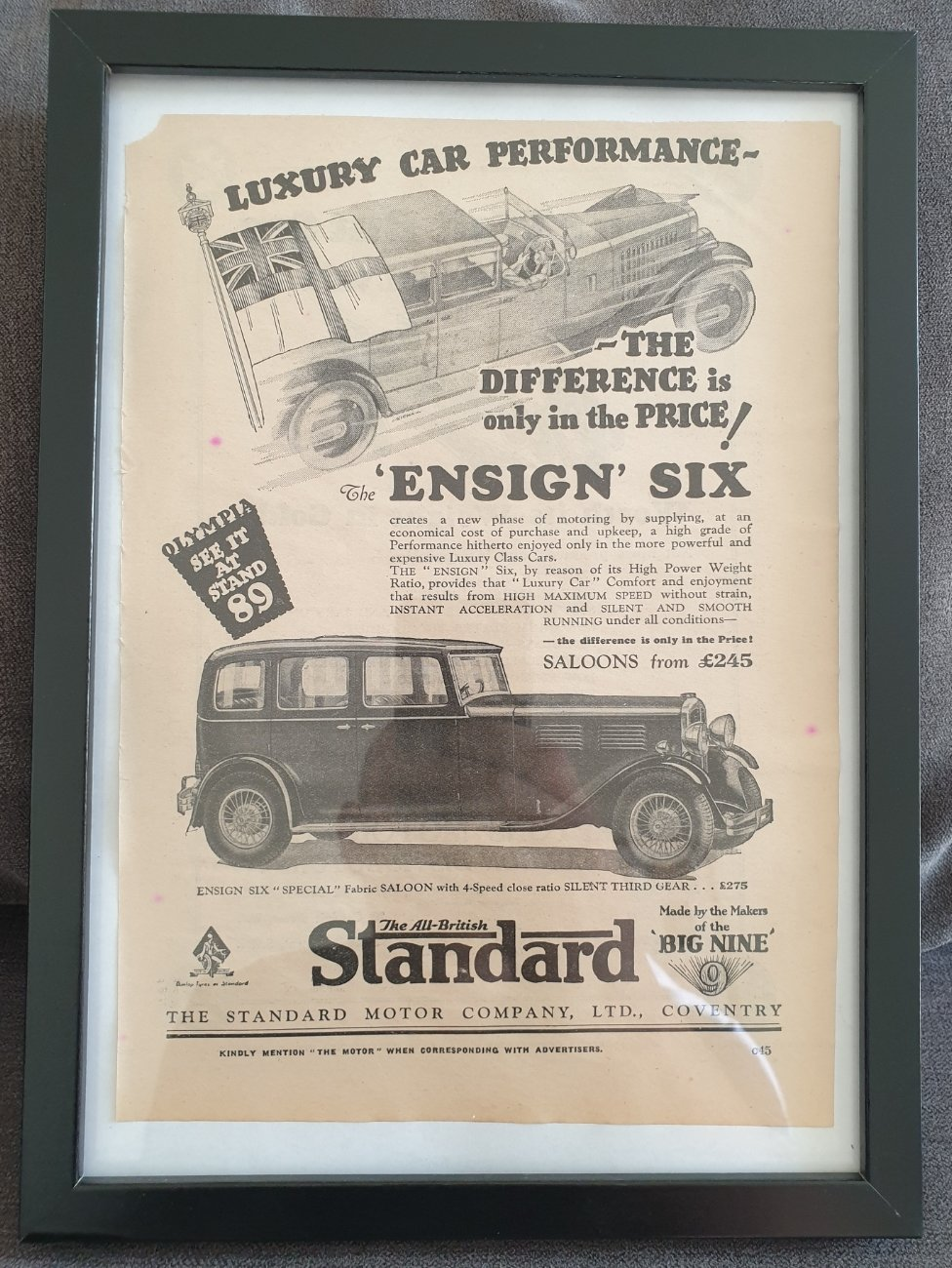 Original 1930 Standard Ensign Framed Advert