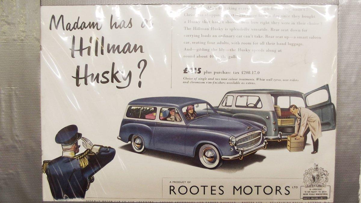 0000 HILLMAN MINX, IMP. HUSKY ORIGINAL ADVERTISEMENTS 4 SALE For Sale (picture 3 of 7)