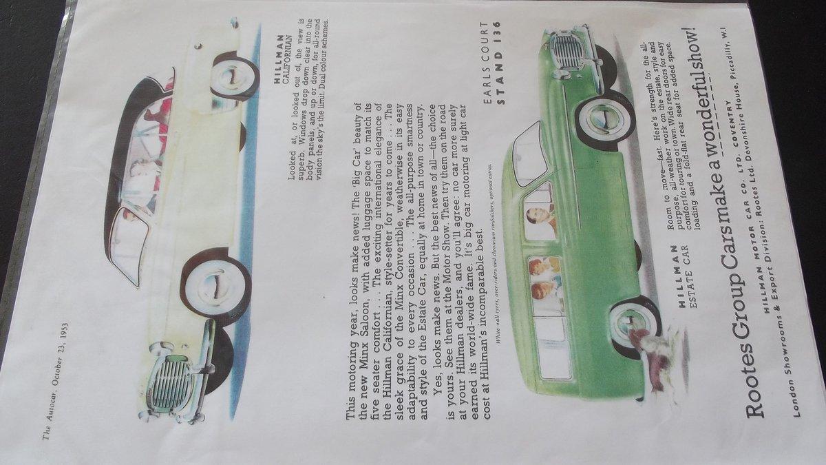 0000 HILLMAN MINX, IMP. HUSKY ORIGINAL ADVERTISEMENTS 4 SALE For Sale (picture 7 of 7)