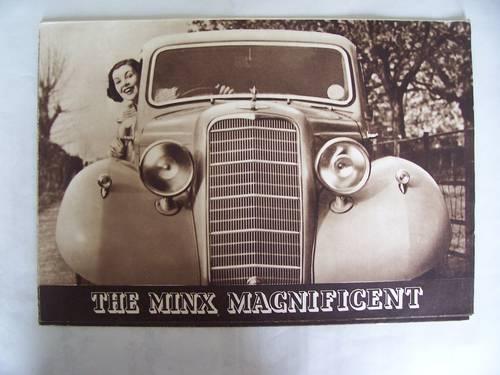 HILLMAN MINX MAGNIFICENT 1937 SALES BROCHURE For Sale (picture 1 of 6)
