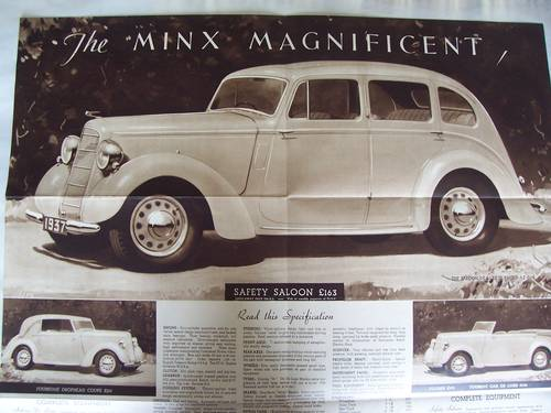 HILLMAN MINX MAGNIFICENT 1937 SALES BROCHURE For Sale (picture 3 of 6)