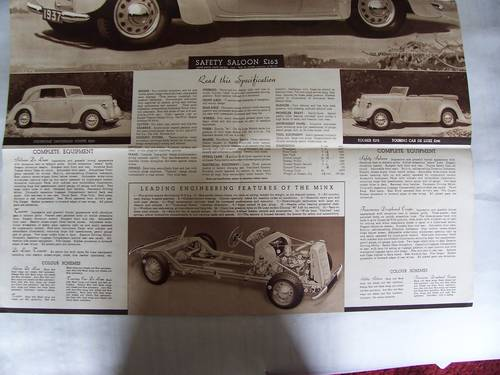 HILLMAN MINX MAGNIFICENT 1937 SALES BROCHURE For Sale (picture 4 of 6)