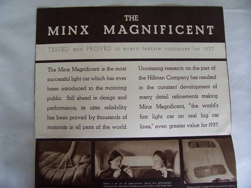 HILLMAN MINX MAGNIFICENT 1937 SALES BROCHURE For Sale (picture 6 of 6)