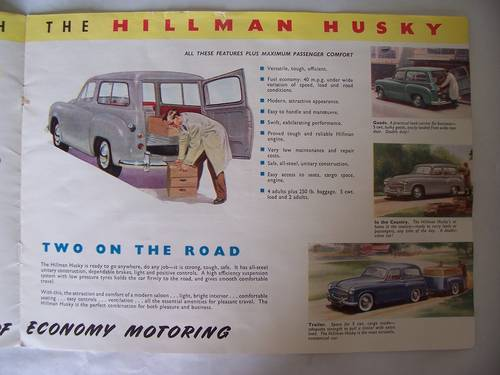 HILLMAN HUSKY SALES BROCHURE 1954 SOLD (picture 3 of 6)