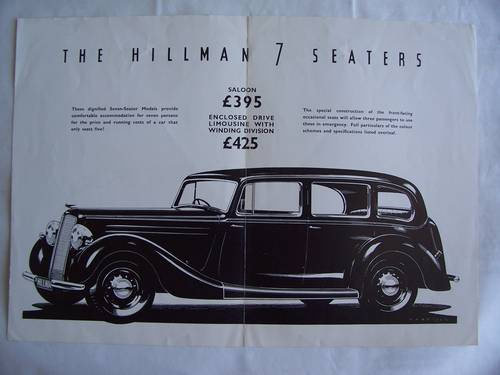 1935 THE HILLMAN 7 SEATER SALOON & LIMOUSINE For Sale (picture 2 of 3)