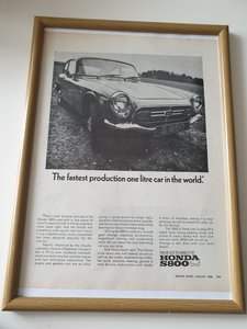 Original 1968 Honda S800 Framed Advert