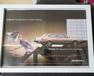 1981 Original Honda Accord Framed Advert For Sale