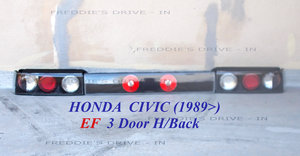 1989 3 Piece Set of Rear Custom Lights for the _ HONDA CIVIC  For Sale
