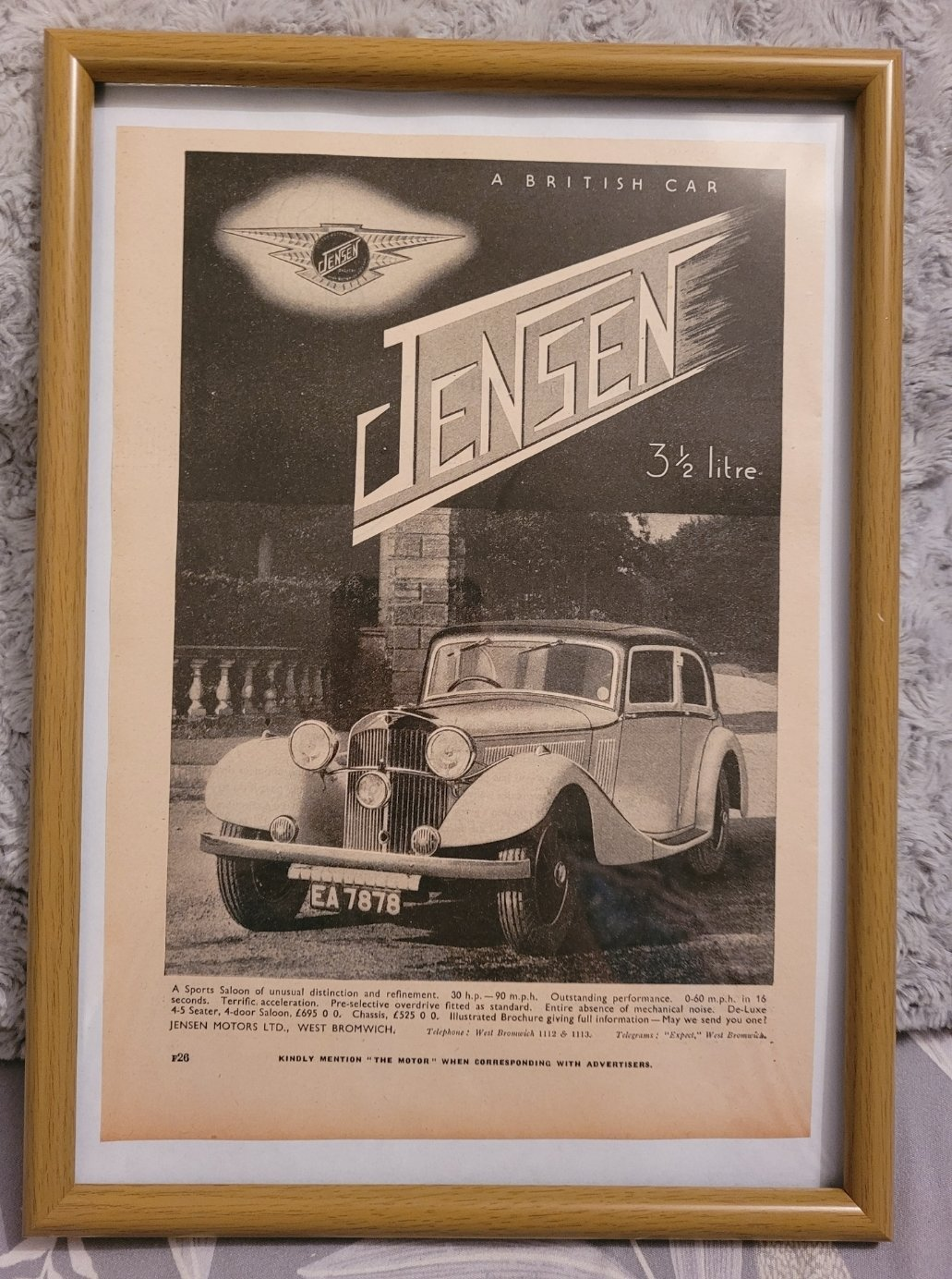Original 1936 Jensen Framed Advert