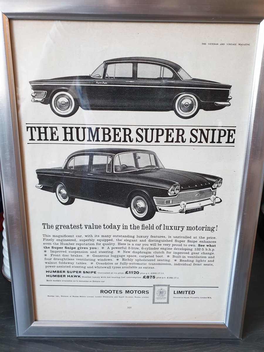 1963 Humber Super Snipe advert Original  For Sale (picture 1 of 2)