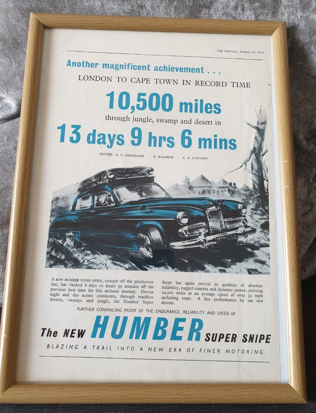1953 Original Humber Super Snipe advert For Sale (picture 1 of 3)