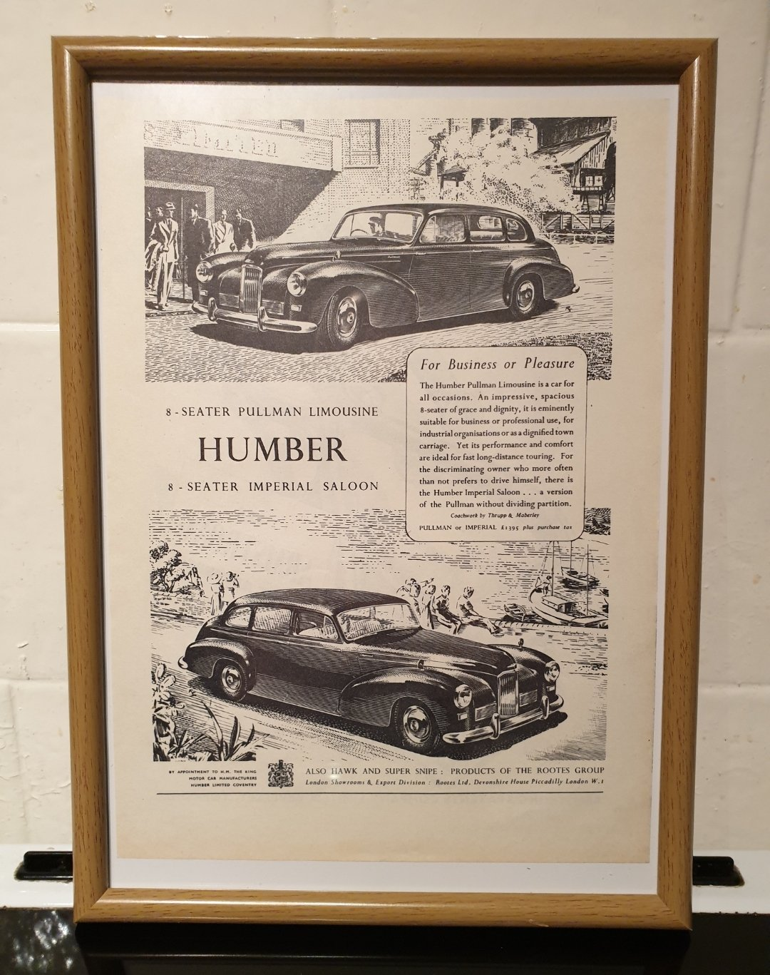 1951 Humber Limousine Framed Advert Original  For Sale (picture 1 of 2)