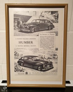 1951 Humber Limousine Framed Advert Original