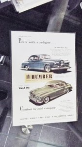 1953 HUMBER SUPERSNIPE AND HAWK PICTURE AND ADVETISING SLOGAN For Sale