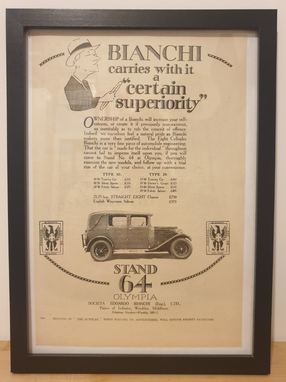 1963 Original 1928 Bianchi Framed Advert  For Sale (picture 1 of 3)