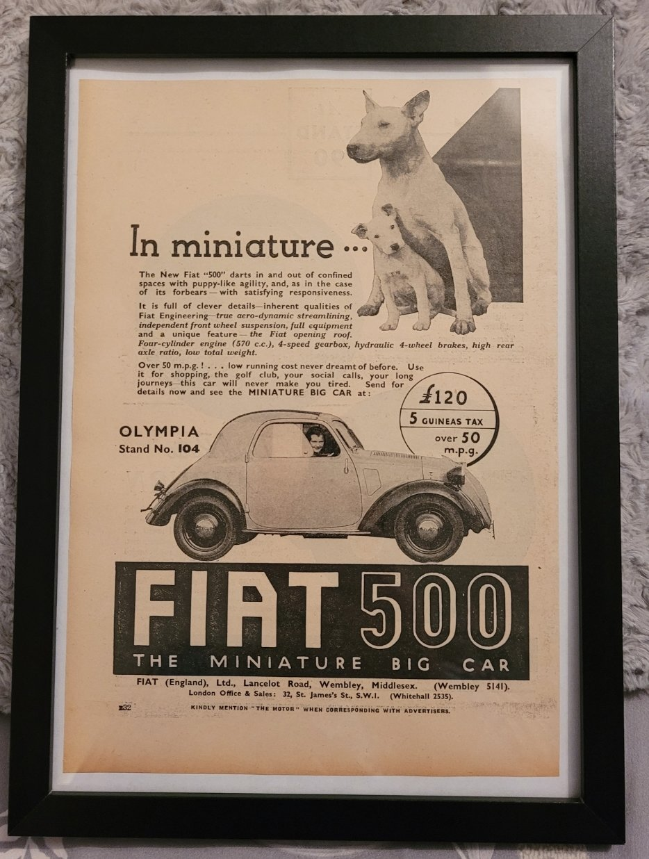 Original 1936 Fiat 500 Framed Advert