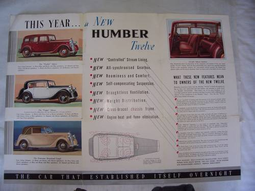 HUMBER TWELVE 1933 SALES BROCHURE For Sale (picture 2 of 4)